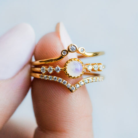 Moonstone and Diamond Twinkle Toes Ring Stack