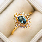 London Blue Topaz and Diamond Dynasty Ring