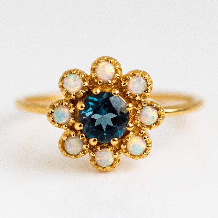 London Blue Topaz Opal Picasso Yellow Gold Statement Ring La Kaiser