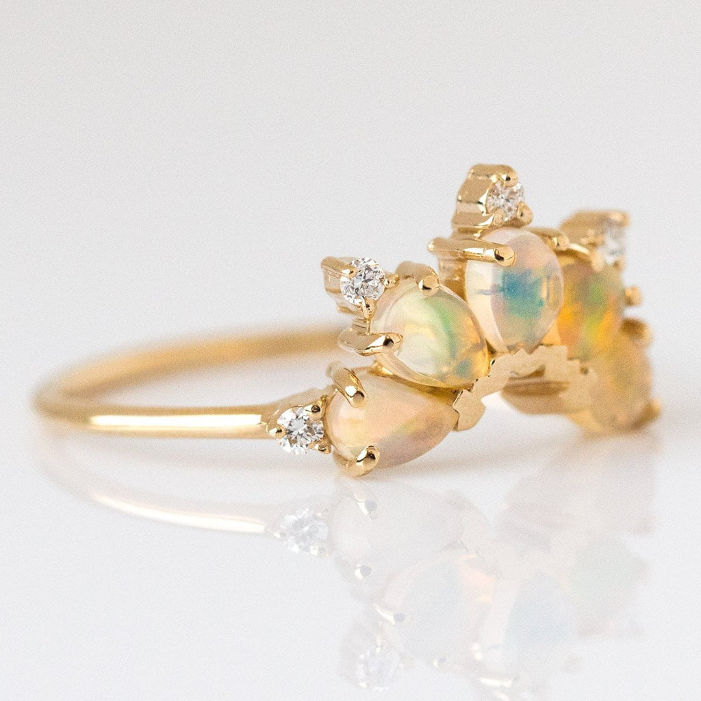 14K Gold Diamond & Opal Parisian Butterfly Ring