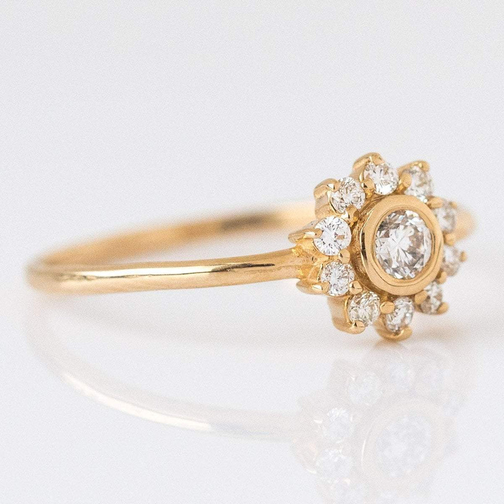 Local Eclectic - 14K Gold Diamond Sunflower Ring - Solid Gold - Natural Diamonds - La Kaiser