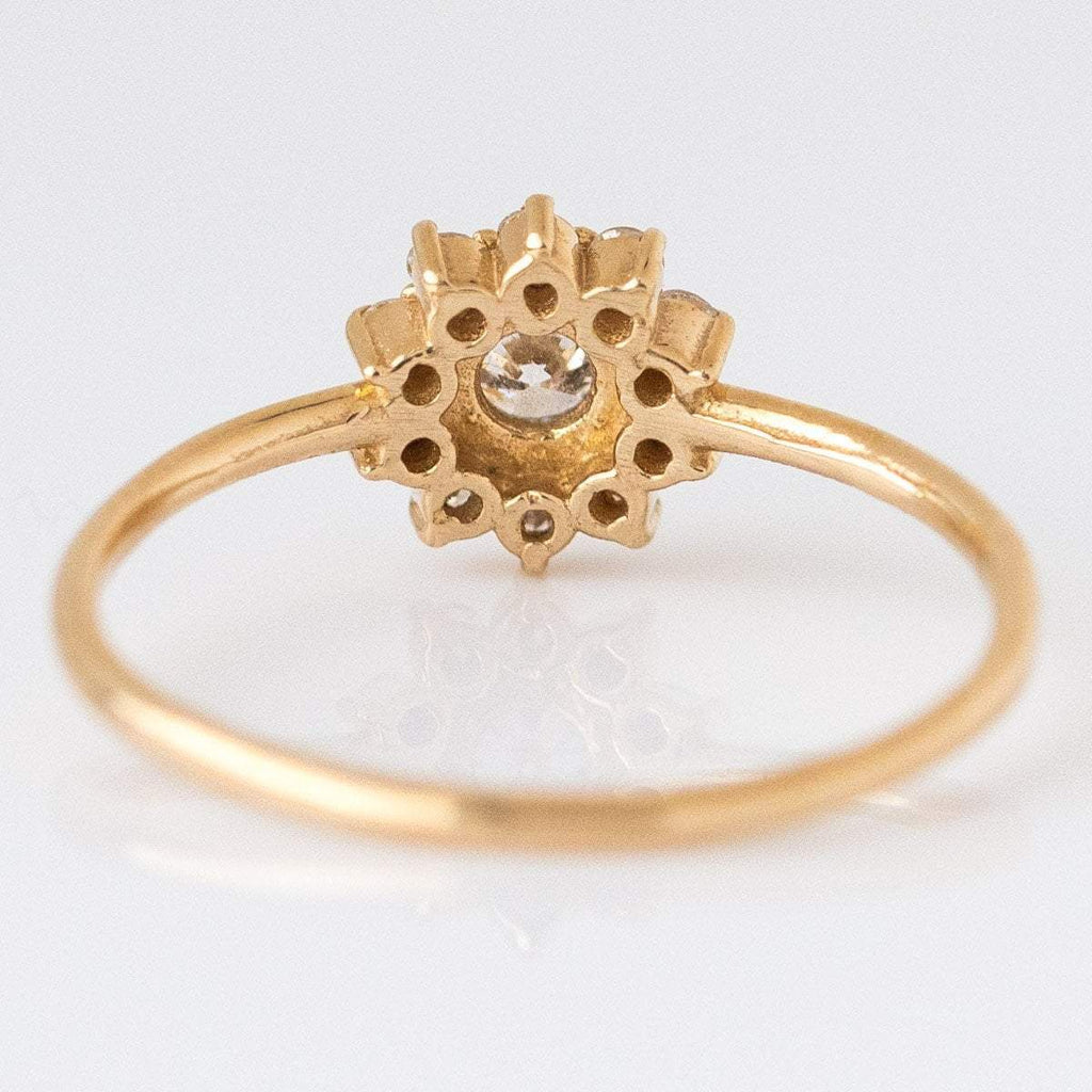 Local Eclectic - 14K Gold Diamond Sunflower Ring - Solid Gold - Natural Diamonds - Engagement
