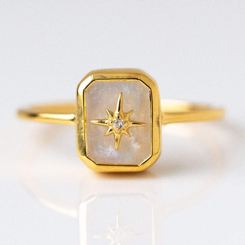 Rainbow Moonstone & Topaz Treasure Chest Ring dainty yellow gold celestial jewelry