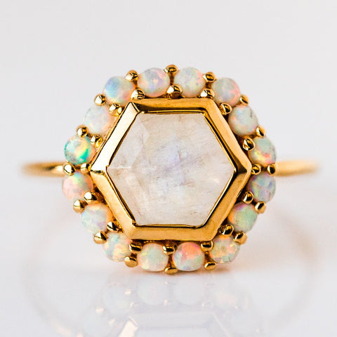 Rainbow Moonstone & Opal Blooming Lotus Ring - rings - La Kaiser local eclectic
