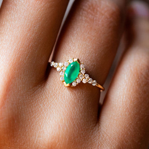 green onyx grecian ring modern cz dainty yellow gold ring