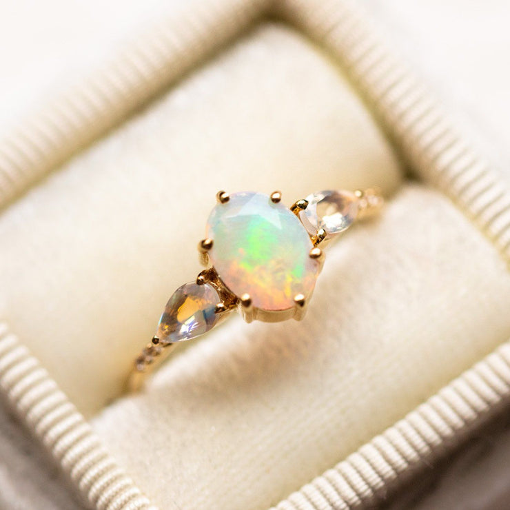 opal and rainbow moonstone venezian fantasty ring modern yellow gold jewelry