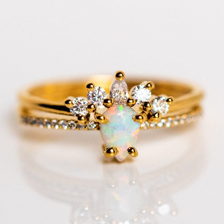 opal and topaz dancing daisy ring dainty stacking yellow gold jewelry