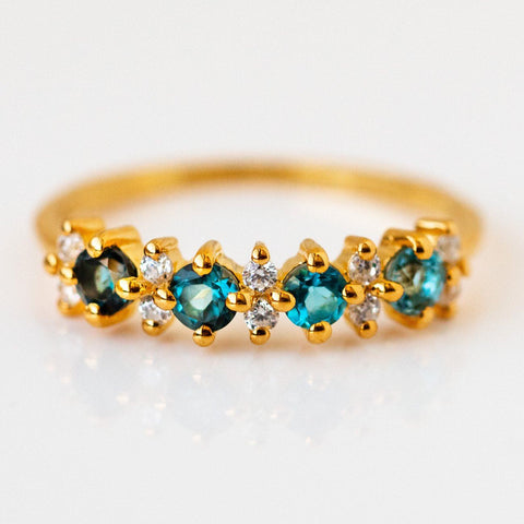 blue ombre farah ring cz dainty modern yellow gold jewelry
