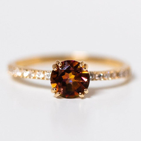 14kt Topaz and Diamond Solo Ring