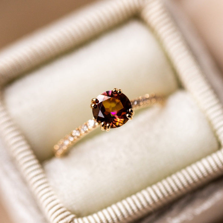 14k solid gold colorful topaz diamond unique fine yellow gold ring