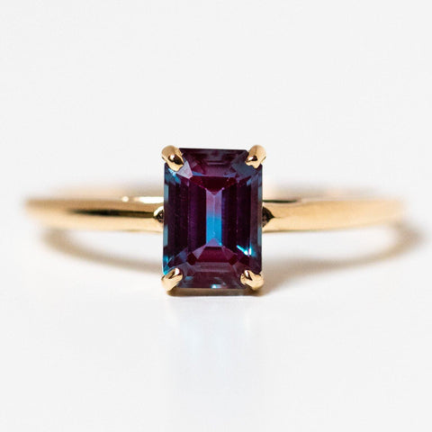 solid yellow 14k gold alexandrite unique statement ring