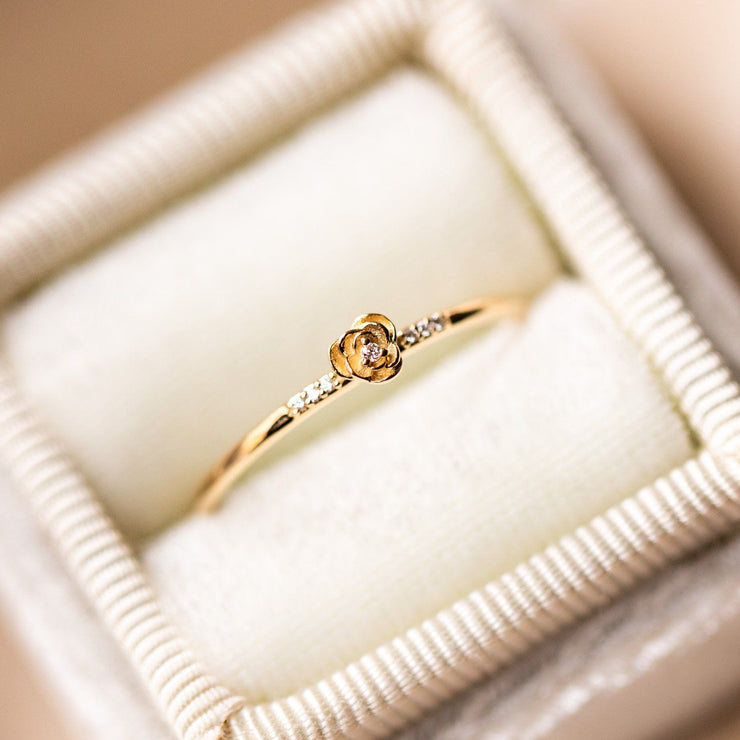 solid yellow 14k rose diamond floral inspired diamond ring