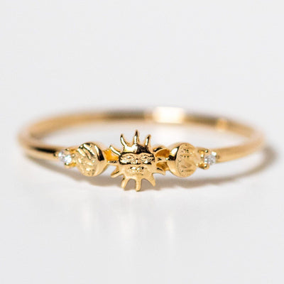 14k solid yellow gold forever sun moon and star ring celestial jewelry