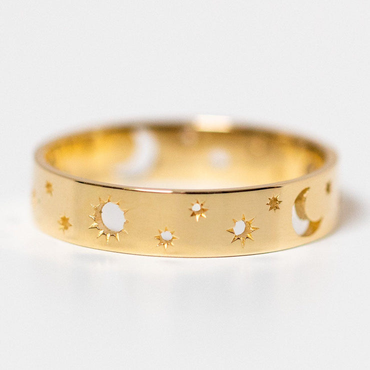 10k yellow solid gold fine celestial moon band ring