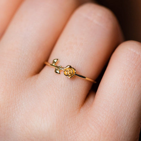 solid yellow 14k gold rose ring unique dainty fine jewelry