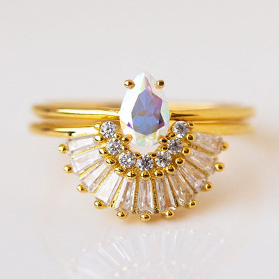 Opalescent Topaz and Diamond Majesty Stack Ring dainty modern yellow gold ring