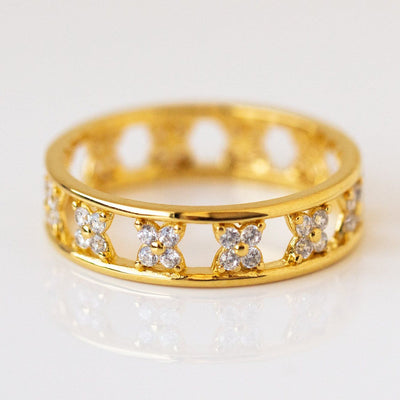 Diamond Daisy Channel Band Ring unique dainty yellow gold jewelry