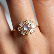 Rainbow Moonstone and Diamond Baroque Ring statement cocktail ring