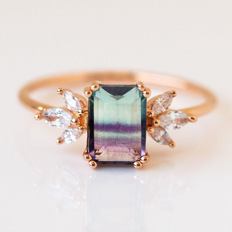 Rose Gold Fluorite Topaz Hazy Dream Ring unique stone jewelry