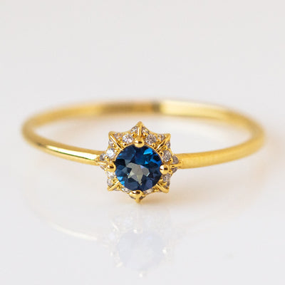 Charlotte's Web Iolite Ring dainty yellow gold jewelry
