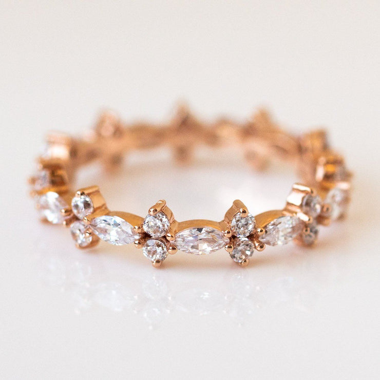 Rose Gold Diamond Tiara Ring dainty rose gold band jewelry