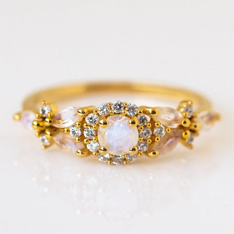 Rainbow Moonstone and Diamond Field of Flowers Ring