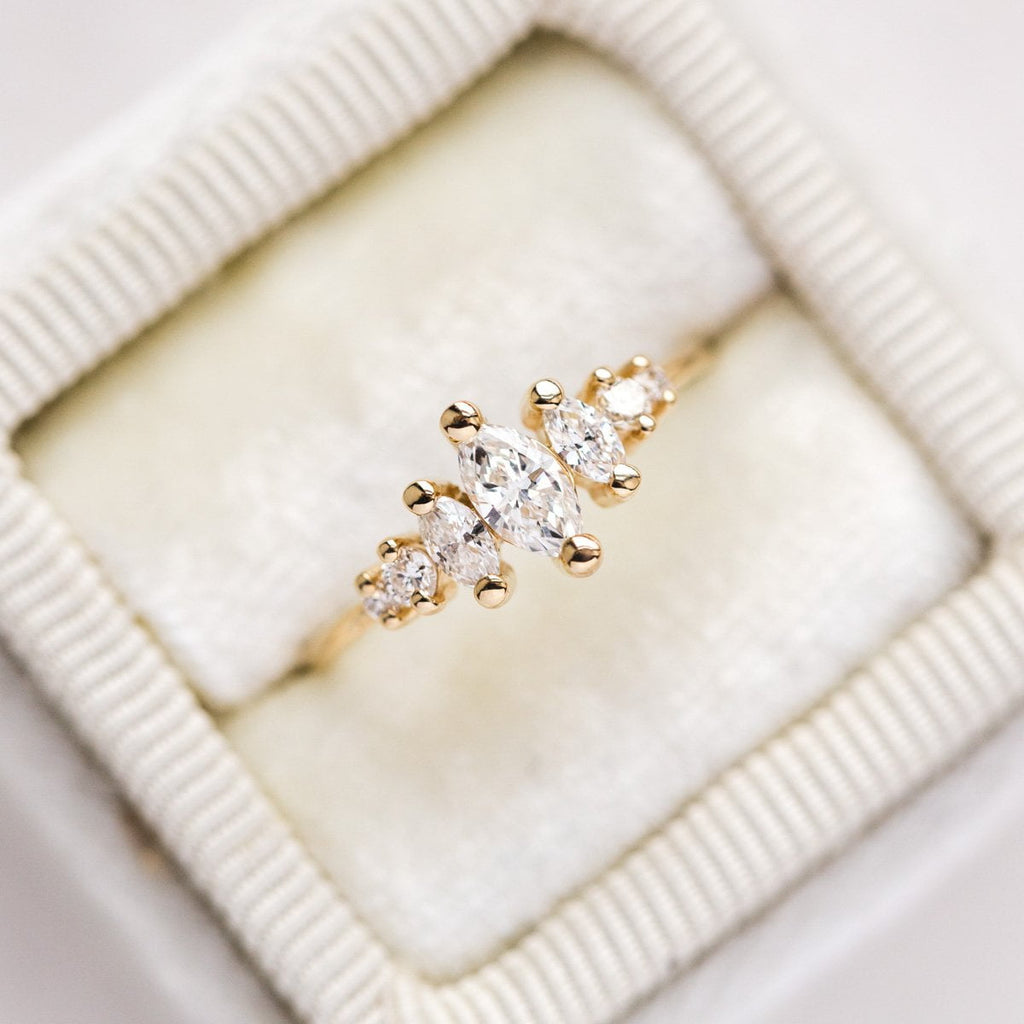 Local Eclectic - 14K Gold Diamond Ring - Marquise Cut - La Kaiser - Natural White Diamonds