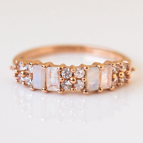 Rainbow Moonstone and Diamond Italian Bridge Ring