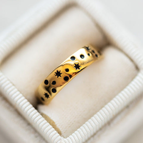 Under the Night Sky Ring unique celestial yellow gold statement band