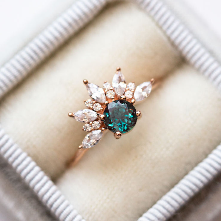 Rose Gold Fire of Love Alexandrite and Diamond Ring