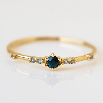 10k Teal Sapphire and Aquamarine Daphne Ring dainty solid yellow gold fine jewelry