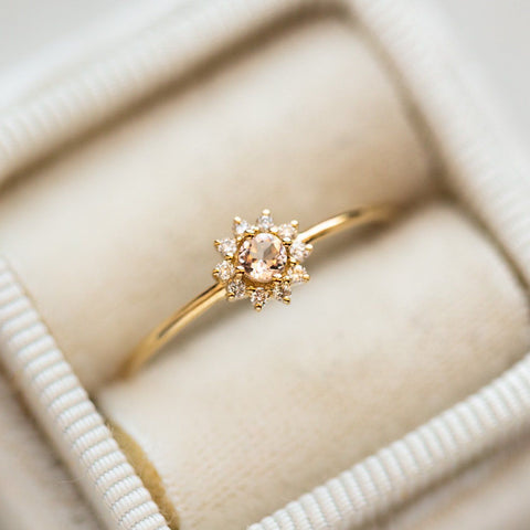 10k Morganite and Diamonds Baby Blossom Ring dainty  solid yellow gold fine jewelry