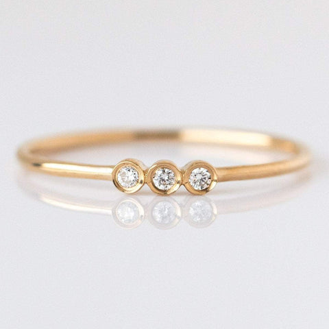 14K Gold Diamond Trio Ring