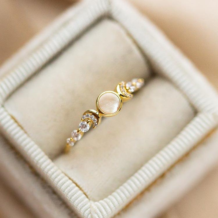 Mother of Pearl and CZ Galaxy Ring celestial inspired yellow gold dainty jewelry