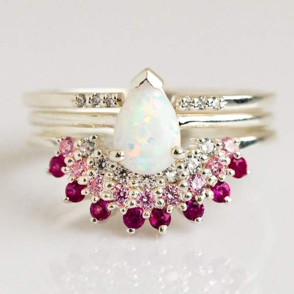 Opal & Pink Diamond Exotic Sunrise Stacking Ring Set rings La Kaiser 5 Silver