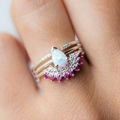 Opal & Pink Diamond Exotic Sunrise Stacking Ring Set in Silver