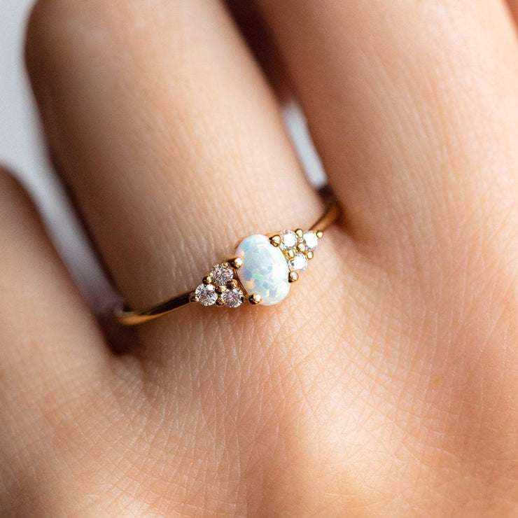 Local Eclectic - 18K Yellow Gold Mini Opal & Diamond Abella Ring - La Kaiser