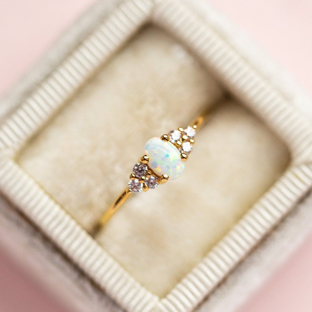 Local Eclectic - yellow gold Mini Opal & Diamond Abella Ring - La Kaiser