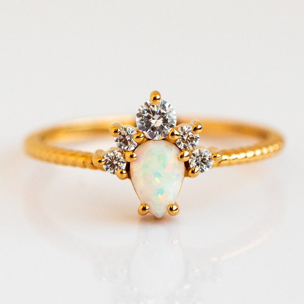 Opal Topaz Drop Yellow Gold Crown Beaded Band Ring La Kaiser
