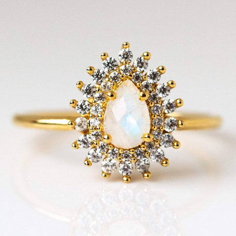 Rainbow Moonstone & Diamond Vintage Versailles Ring