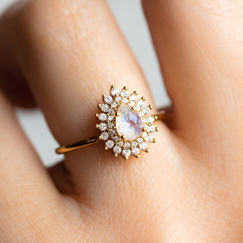 Yellow Gold Vintage Inspired Versailles Ring CZ