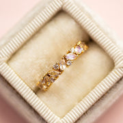La Kaiser Rainbow Moonstone and Diamond Gold Band