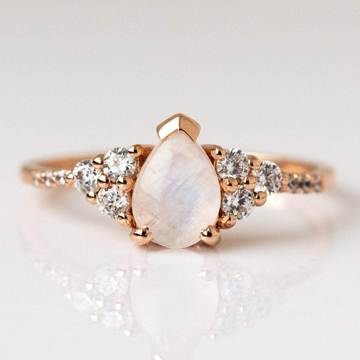 Rose Gold Rainbow Moonstone Ring