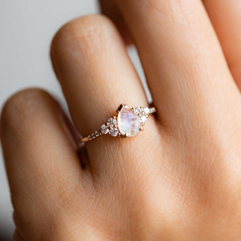 Rose Gold Rainbow Moonstone & Diamond Misty Ring