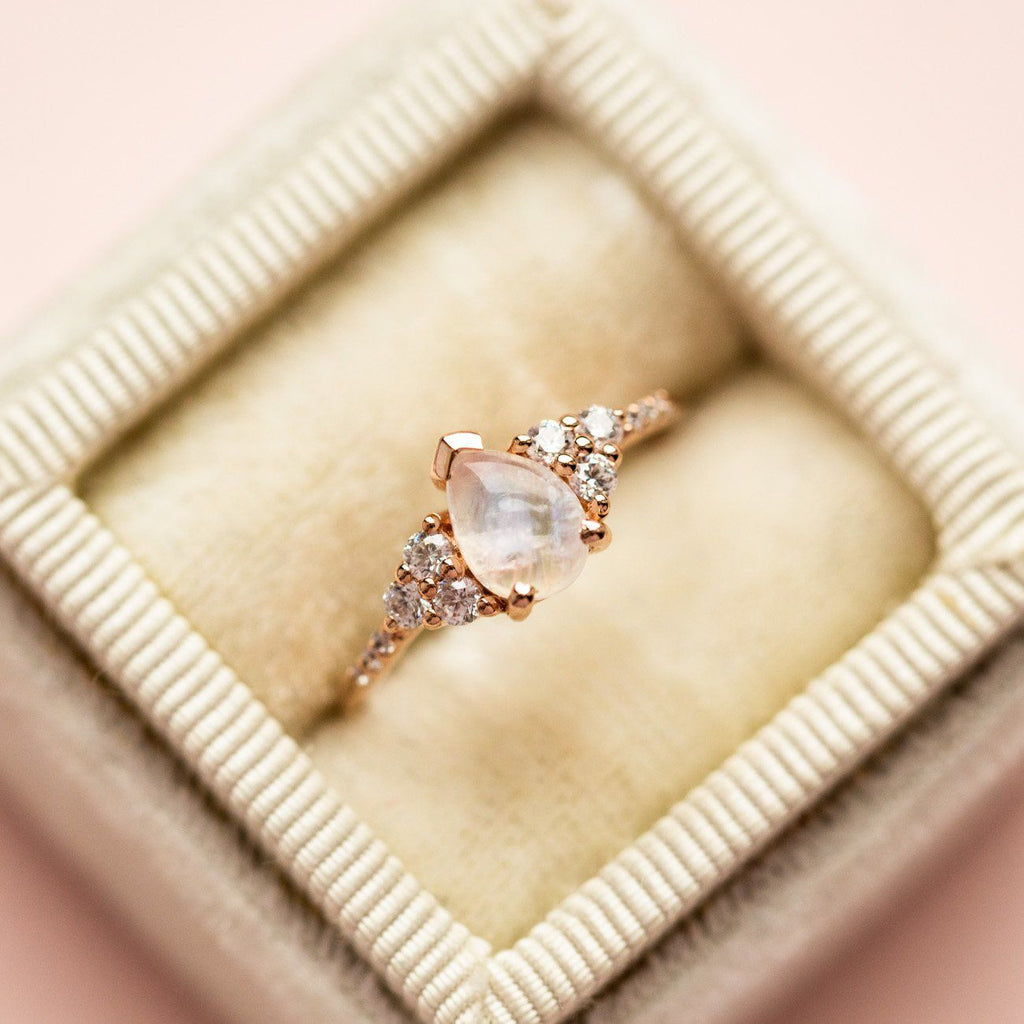 Moonstone and Diamond Statement Ring Rose Gold Band