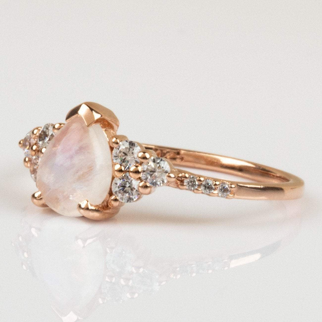 14K Rose Gold Vermeil with Rainbow Moonstone