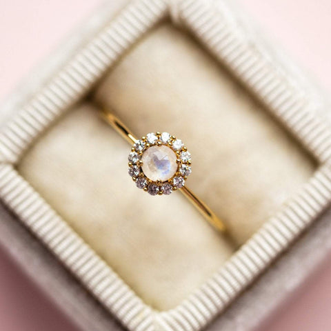 Rainbow Moonstone & Diamond Mini Fleur Ring