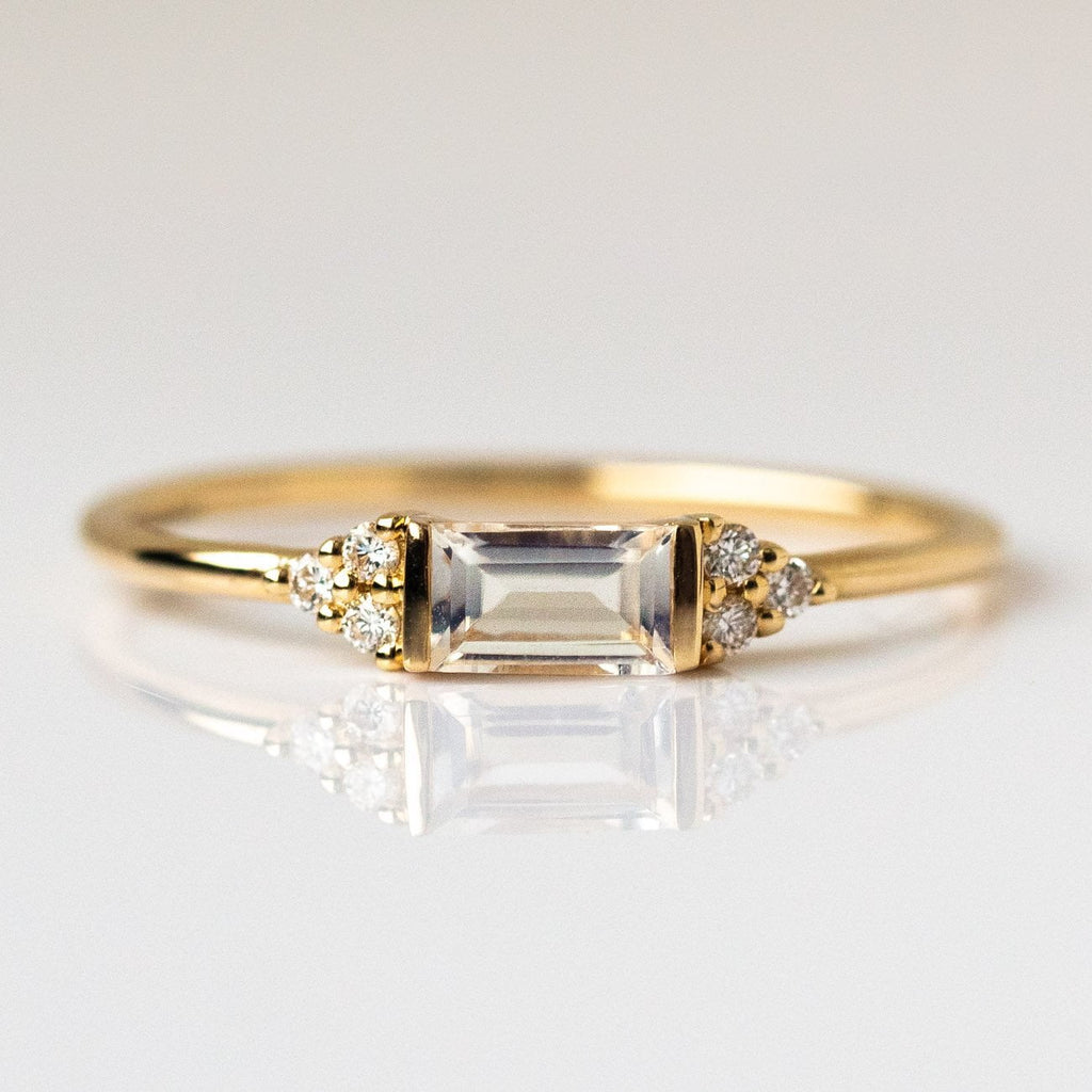 Local Eclectic - 14K Yellow Gold Rainbow Moonstone & Diamond Baguette Ring - La Kaiser