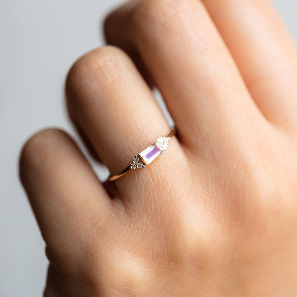 Local Eclectic - 14K Solid Yellow Gold Rainbow Moonstone & Diamond Baguette Ring - La Kaiser