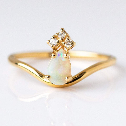 Opal & Diamond Crown Ring